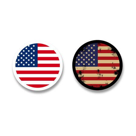 Grunge American flag badges Icon Modern