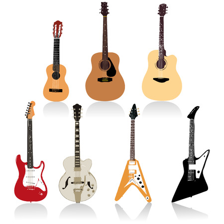 Acoustic and Electric Guitars set  Illustration