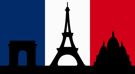 french culture: French Design with the skyline of Paris Flag