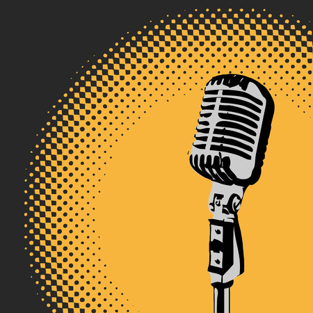 Retro microphone with a spotlight background 2