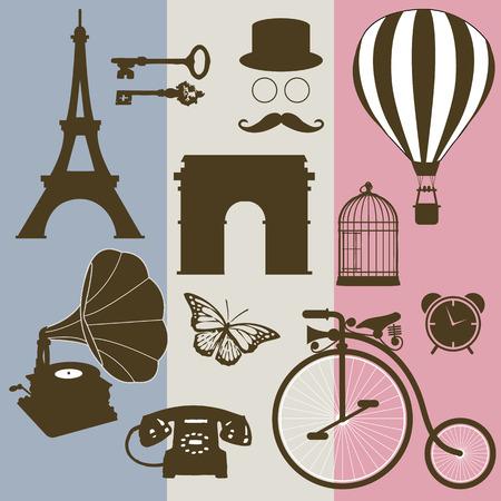 ephemera: Set of design elements and vintage symbols of France