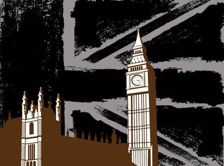 english culture: Black British  Design with Big Ben London Flag