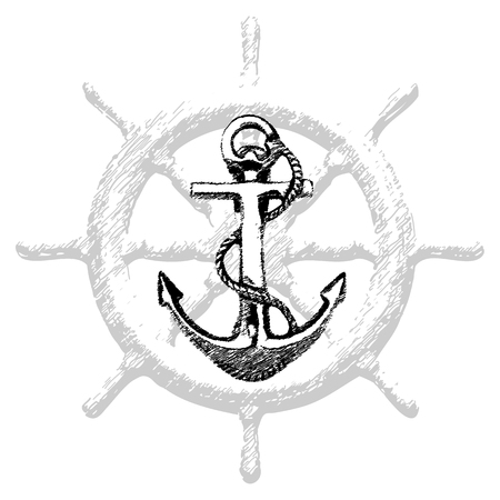 Hand drawn illustration of old anchor vector 2