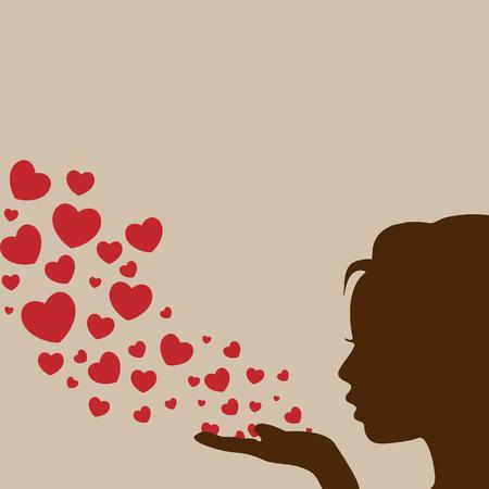Silueta de la mujer mano muchacha bonita soplando corazón Foto de archivo - 46087515