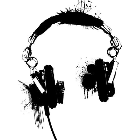 Headphones stencil Black and White vector Ilustração