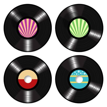 retro party: Lp Retro 45 RPM Records Vector