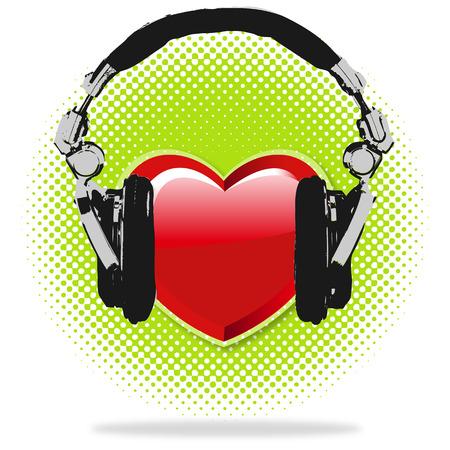 taking pulse: I love Music Haftones Background Illustration