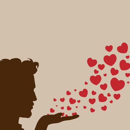 lovestruck: Man silhouette hand handsome blowing heart