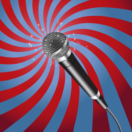 pop singer: Microphone on a Rays Background vector