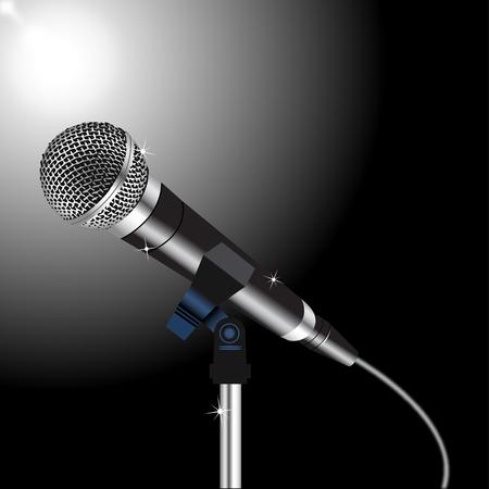 Mikrofon mit einer Schnur auf einem Spotlight Hintergrund Vektorgrafik