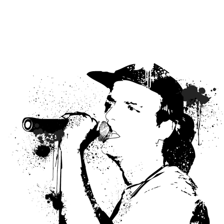 rockstar: vector image of a rocker singing on concert loudly using the mic