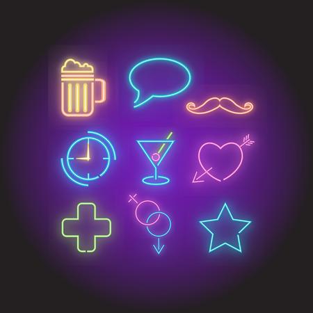 Retro Neon Bar symbols elements set