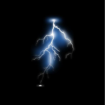 Realistic lightning on black background