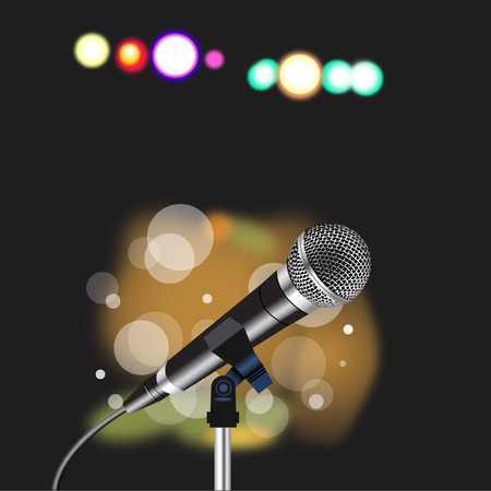 Microphone with a cord on abstract  Spotlight background Ilustração