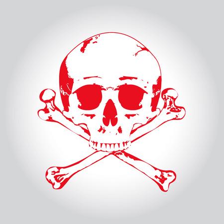 Red Skull and crossbones. Illustration on bright background