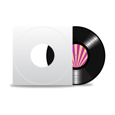 Vinyl record with blank cover space for your text on white background