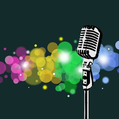 Retro microphone with abstract spotlight background