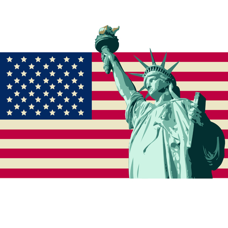 United State of America Design with Statue of Liberty, Stars and Stripes Flag
