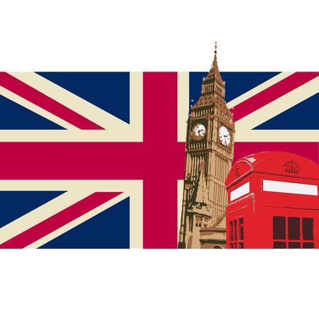 United kingdom Design with Big Ben London Flag