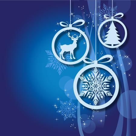 Abstract Xmas greeting card with Blue Christmas balls 2 Ilustração