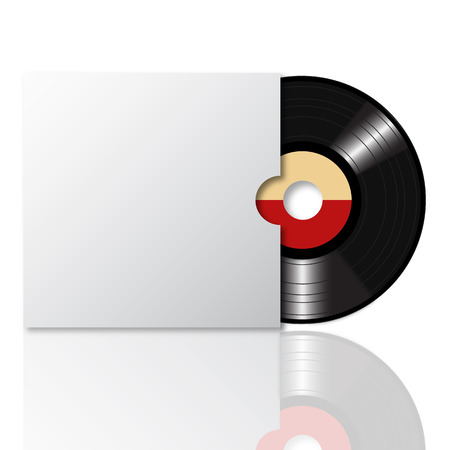 Vinyl record with blank cover space for your text on white background 2
