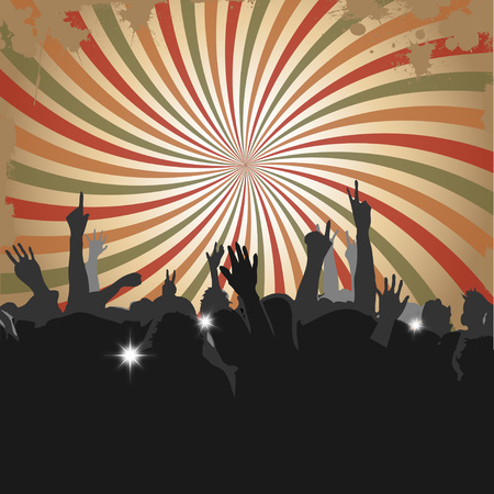 Crowd at a Concert or in Club with silhouettes 2 Illustration