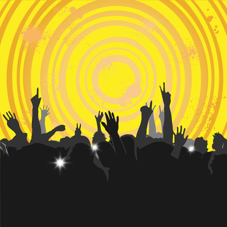 Crowd at a Concert or in Club with silhouettes 3