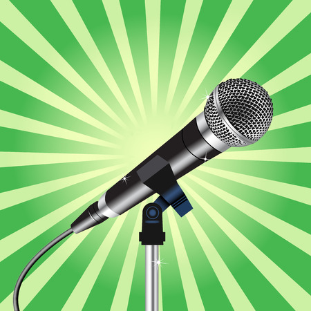 microphone with a cord on Rays zoom background vector 3 Ilustração