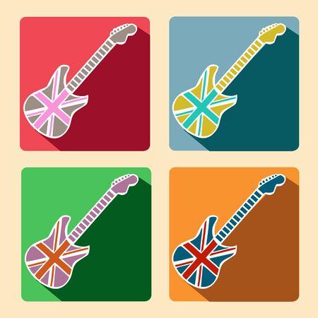 British Flag Guitar flat icons with long shadow Retro design Ilustração