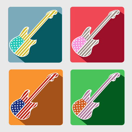 American flag guitar flat icons with long shadow retro design.