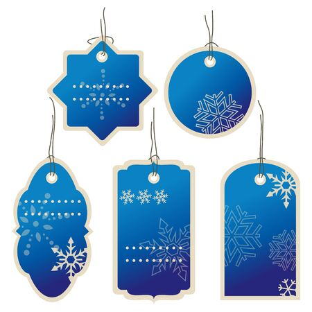 Blue Christmas and New Year in winter price tags set. Ilustração