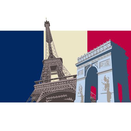 Republique Francaise Design with the skyline of Paris Flag