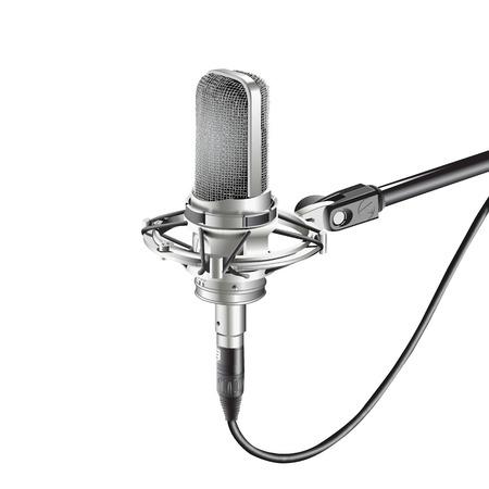 スタジオ マイク (マイク、ラジオ、音声を記録するための白い背景の分離します。  イラスト・ベクター素材