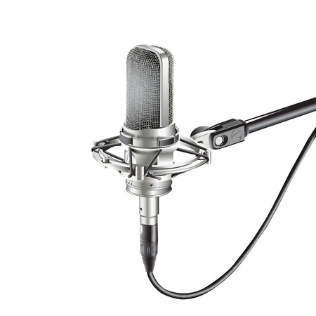 Studio Microphone isolate on white background for recording (microphone, radio, voice Illusztráció