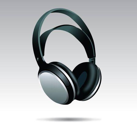 Realistic Black Headphones illustration isolated on white background