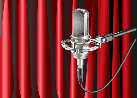 Studio Microphone realistic Against red curtain background