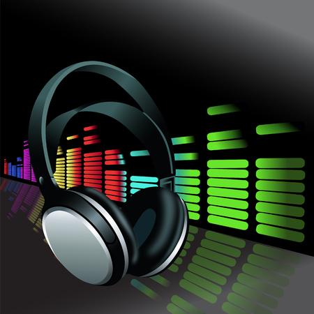 現実的なヘッドフォン カラフルなデジタル音楽ボリューム イコライザー背景