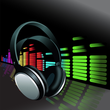 Realistic Headphones colorful digital music volume Equalizer background Vectores