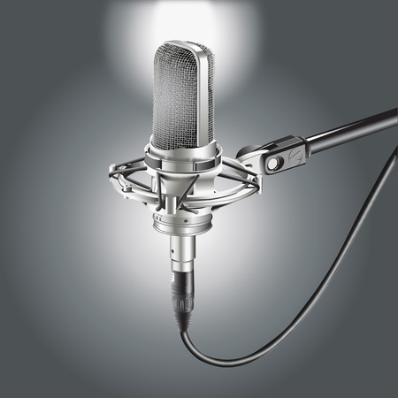 Studio Microphone isolated on a Gray background for recording illustration. Illustration