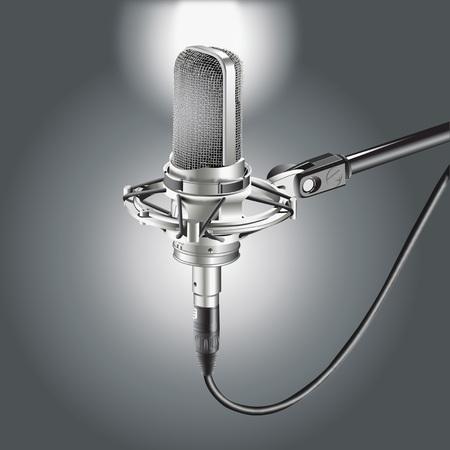Studio Microphone isolated on a Gray background for recording illustration. Ilustração