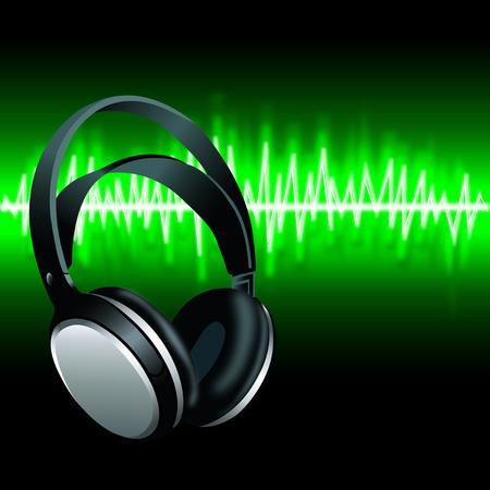 Realistic Headphones digital music Equalizer green sound wave background illustration.
