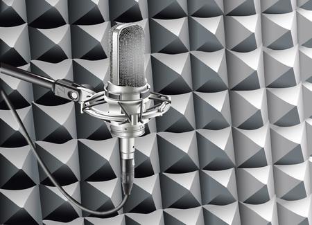 Studio Microphone for recording in studio radio station vector illustration. Ilustração