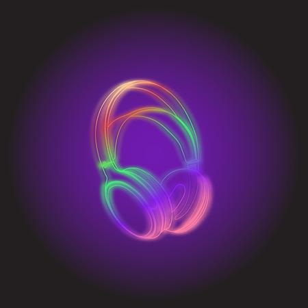 Headphones Neon light DJ style vector illustration. Ilustração