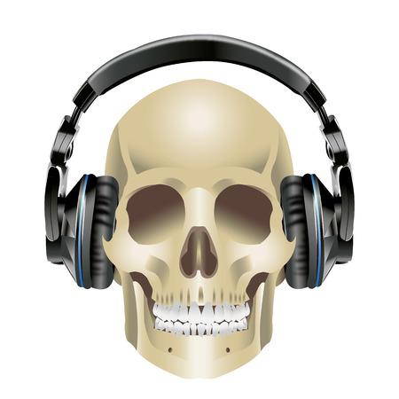 Human Skull and Headphones in stereo ear-phones on white background Ilustração
