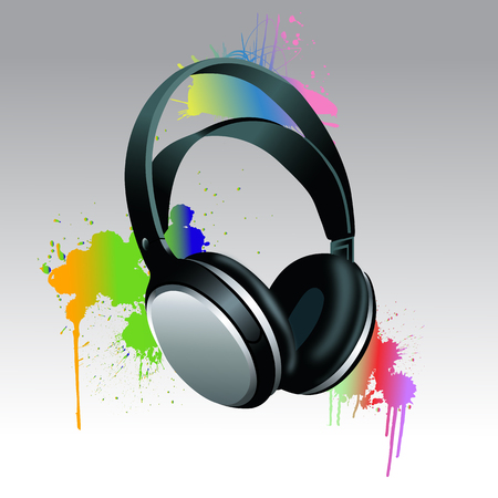hip hop silhouette: Headphones Brush paint with colorful splashes