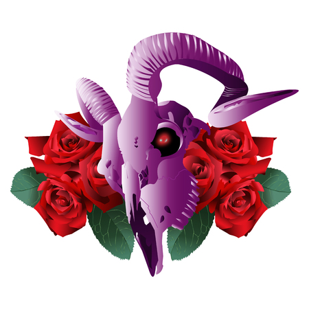 Goat Skull Modern Style and roses on a white background Illustration
