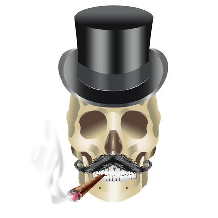 Human Skull Gangster with hat mustache smoking sigar illustration
