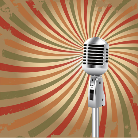 Retro Microphone Grunge rays background for Karaoke Parties