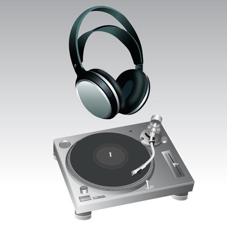 Turntable and Headphone DJ Style vector