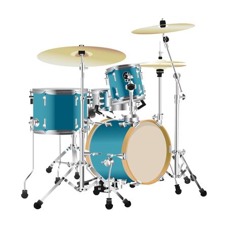 Realistic Drum kit illustration isolated on white background Ilustração